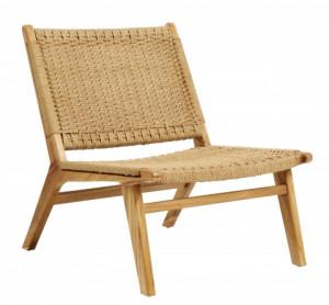 Scaun lounge maro din lemn si sfoara Club Teak Nordal