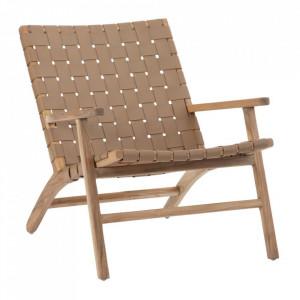 Scaun lounge maro din piele si lemn de tec Davis Denzzo