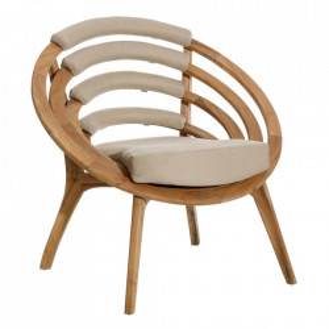 Scaun lounge maro din poliestersi lemn de tec Panorama Denzzo