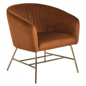 Scaun lounge maro din textil si metal Ramsey Copper Brass Actona Company