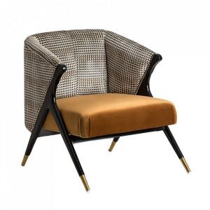 Scaun lounge negru/auriu din catifea si lemn Brillon Vical Home