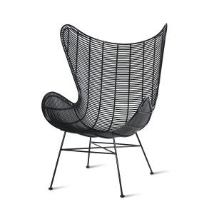 Scaun lounge negru din fier si plastic pentru exterior Fonsi HK Living