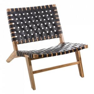 Scaun lounge negru/maro din piele si lemn de tec Rocks Denzzo