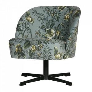 Scaun lounge rotativ gri din otel si catifea Poppy Vogue Be Pure Home