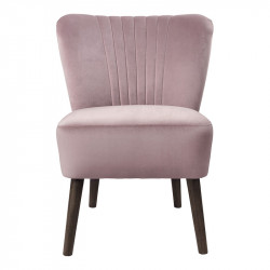 Scaun lounge roz/maro din lemn si catifea Clara Cozy Living Copenhagen