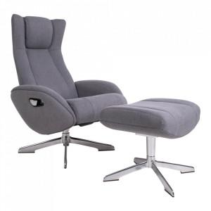 Scaun lounge si taburet pentru picioare gri din textil si aluminiu Riga House Nordic