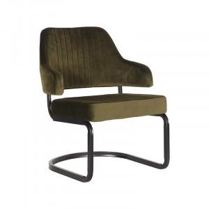 Scaun lounge verde army/negru din catifea si metal Otta LABEL51