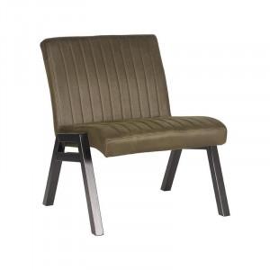 Scaun lounge verde army/negru din microfibre si metal Matz LABEL51
