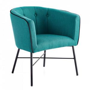 Scaun lounge verde din poliester si otel Evina Ixia
