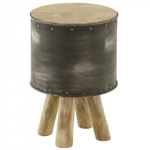 Scaunel maro din lemn reciclat si metal Tabou Eleve Grey Zago