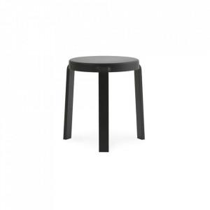 Scaunel rotund negru din lemn 35 cm Tap Line Normann Copenhagen