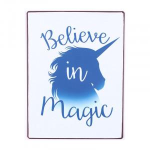 Semn metalic multicolor 26,5x35 cm Believe In Magic