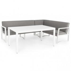 Set 2 canapele si masa dining din poliester si aluminiu pentru exterior Krystelle Bizzotto