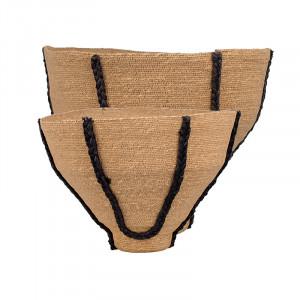 Set 2 cosuri maro/negre din iuta si iarba de mare Miyu LifeStyle Home Collection