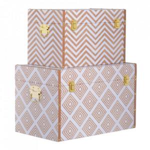 Set 2 cutii cu capac maro/albe din MDF si PVC Millia Big Ixia