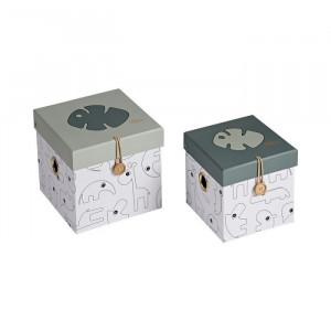 Set 2 cutii cu capac multicolore din carton Tropics Done by Deer