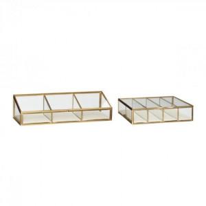 Set 2 cutii cu capac transparente/maro alama din sticla si metal Naomi Hubsch