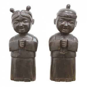 Set 2 decoratiuni negre din piatra 63 cm Statues Versmissen