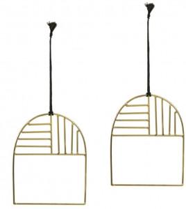 Set 2 decoratiuni suspendabile din metal 12 cm Xanthe La Forma