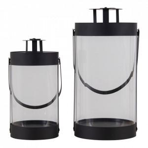 Set 2 felinare negre din sticla si otel House Nordic