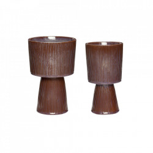 Set 2 ghivece maro/mov din ceramica Elegant Pots Hubsch