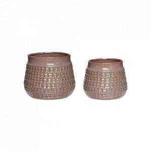 Set 2 ghivece mov din ceramica Mendez Hubsch