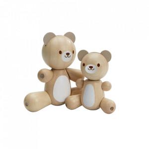 Set 2 jucarii maro din lemn Bear and Little Bear Plan Toys