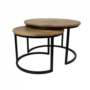 Set 2 masute de cafea maro/negre din lemn de mango si fier Ronin Ovre HSM Collection