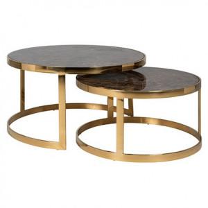 Set 2 masute maro/aurii din marmura artificiala si inox pentru cafea Conrad Richmond Interiors