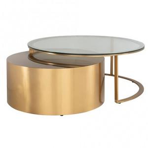 Set 2 mese transparente/aurii din sticla si inox pentru cafea Orlan Richmond Interiors