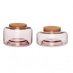 Set 2 recipiente din sticla roz cu capac Lid Hubsch