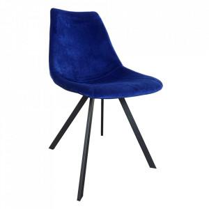Set 2 scaune dining albastre/negre din catifea si otel Cindy Sit Moebel