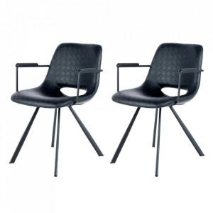 Set 2 scaune dining negre din poliuretan si metal Josephine Arms Kayoom