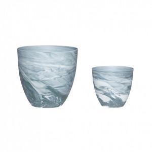 Set 2 suporturi lumanare gri inchis/alb din portelan Augustus Hubsch