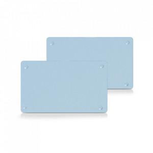 Set 2 tocatoare dreptunghiulare albastre din sticla 15x25 cm Chester Zeller