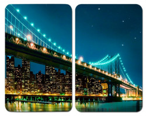 Set 2 tocatoare dreptunghiulare multicolore din sticla 30x52 Universal Brooklyn Bridge Wenko