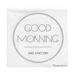"Set 20 servetele albe 25x25 cm ""Good Morning"" Bloomingville"