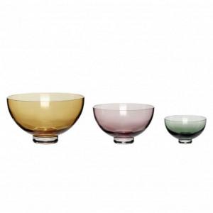 Set 3 boluri multicolore din sticla Olivia Hubsch