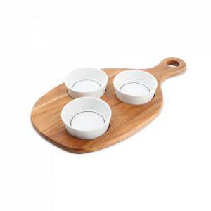 Set 3 boluri si platou pentru servire din lemn si portelan Portion Aerts