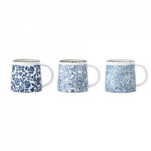 Set 3 cani albastre din ceramica 400 ml Molly Bloomingville