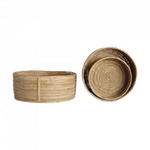 Set 3 cosuri maro din ratan si bambus Chaka Low House Doctor
