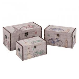 Set 3 cutii multicolore din MDF cu capac Cities Unimasa