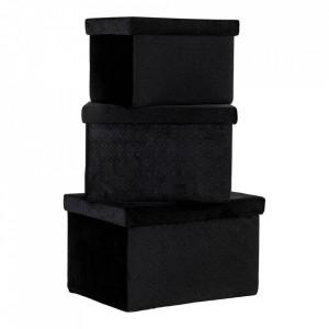 Set 3 cutii negre din catifea Monza House Nordic
