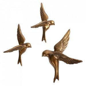 Set 3 decoratiuni aurii din aluminiu  Avaler Be Pure Home