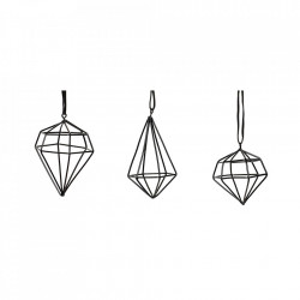 Set 3 decoratiuni suspendabile negre din metal Harriet Hubsch