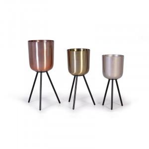 Set 3 ghivece cu suport multicolore din metal Bird Giner y Colomer