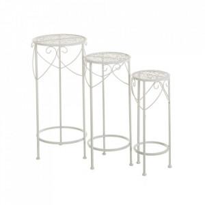 Set 3 masute albe din metal pentru exterior Refined Garden Tables Unimasa