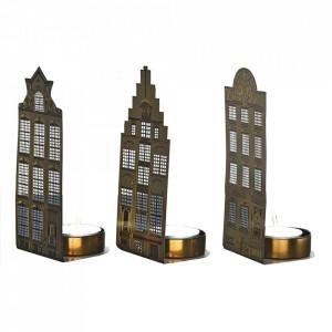 Set 3 suporturi aurii din metal pentru lumanare 14 cm Canalhouses Pols Potten