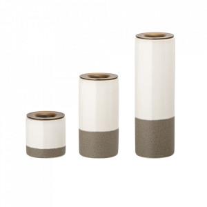 Set 3 suporturi pentru lumanare din ceramica Lissa Bloomingville