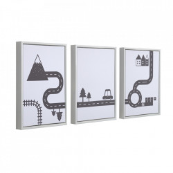 Set 3 tablouri alb/negre din canvas si MDF Nisi Kave Home